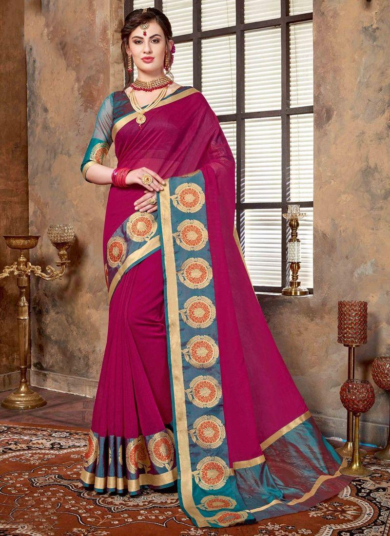 cde341793fdf6a Sparkling Dark Magenta Color Printed Monga Cotton Saree