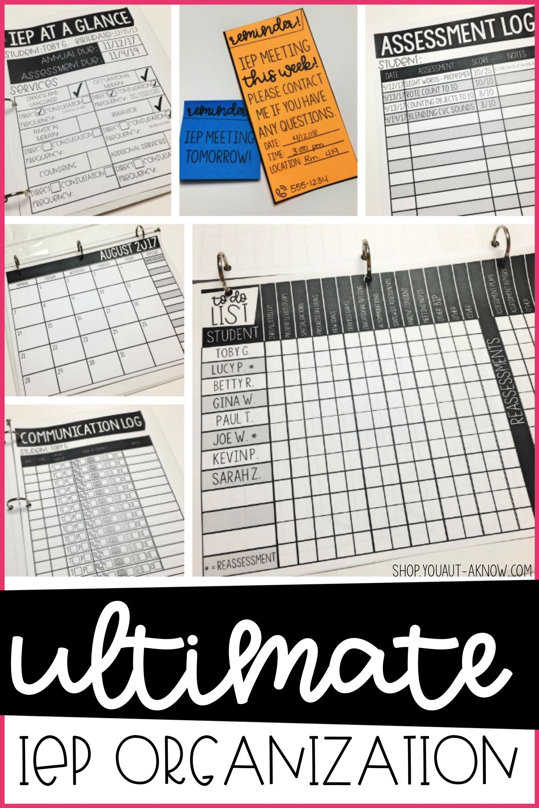 Ultimate Iep Organization Kit Editable Forms Included Iep