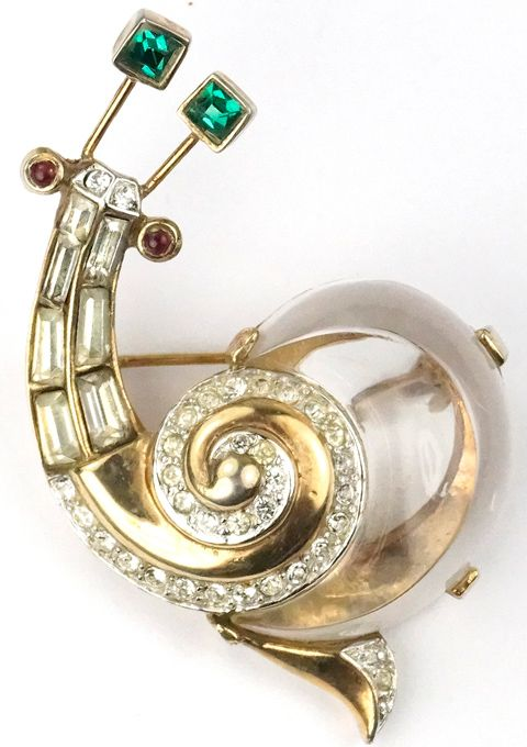 Trifari 'Alfred Philippe' Jelly Belly 'Fairyland' Snail Pin