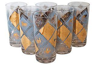 Blue & Gold Zodiac Glasses, Set of 6