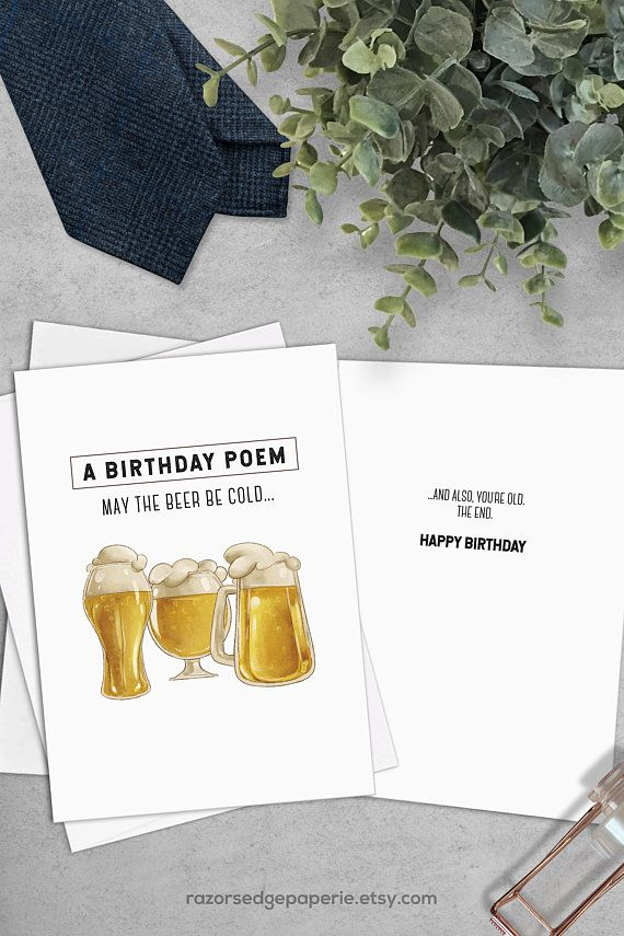 PRINTABLE Funny Birthday Card INSTANT DOWNLOAD Digital Beer Greeting For Him Best Friend Gift F
