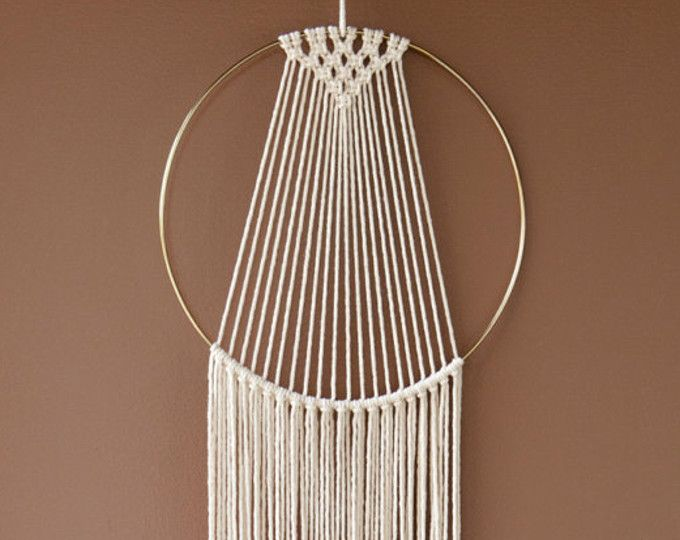 Large Macrame Hoop Wall Hanging Natural Off White Gold