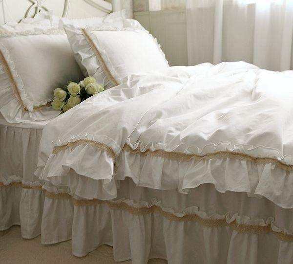 Luxury White Wed Bedding Set Girl,cotton Twin Full Queen King White Single  Doubel Home