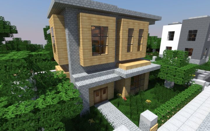 A post featuring 16 great examples of modern Minecraft house