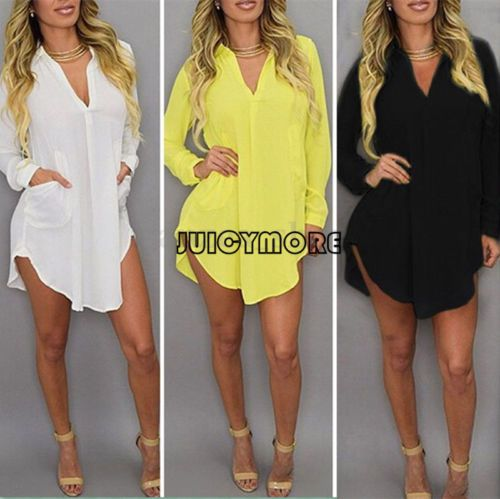 c3f96eb2306b7 Plus Size Summer Womens Casual Loose Long Sleeve Chiffon Shirt Blouse Tops  Dress