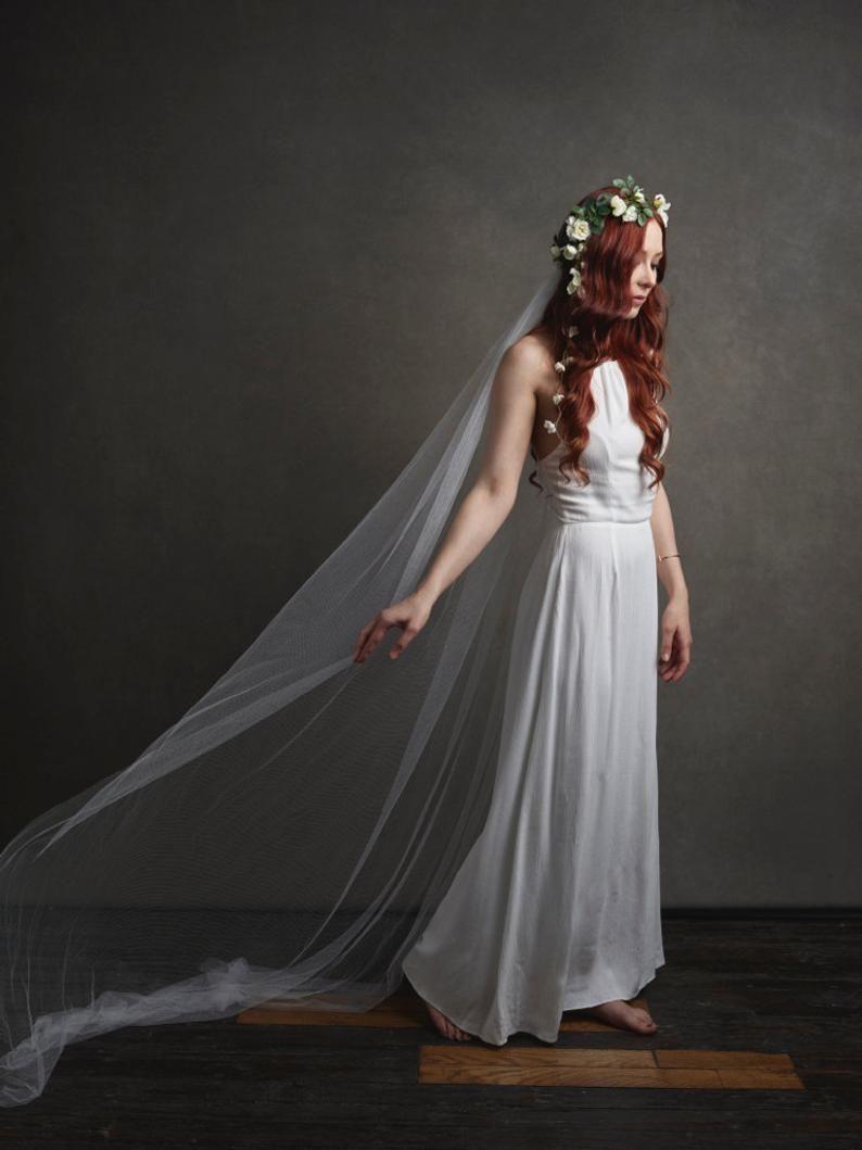 Bridal crown veil white flower headpiece wedding veils