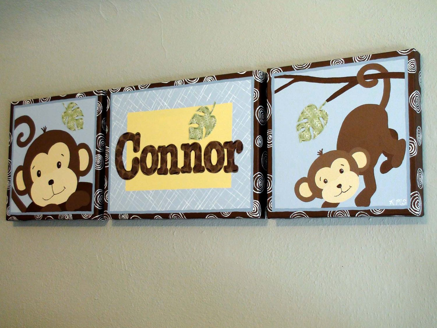 Kids Canvas Wall Art kids wall art - monkey paintings on canvas with childs name in