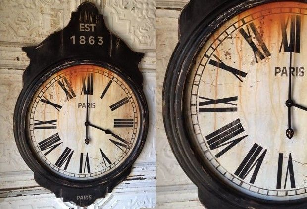 Extra Large Parisian Wooden Wall Clock Scroll Saw Chalk