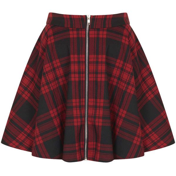 **Red Tartan Zip Front Skater Skirt by Oh My Love found on Polyvore