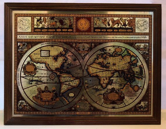Framed vintage mirrored map the known world as by spearmintgallery framed vintage mirrored map the known world as by spearmintgallery gumiabroncs Image collections