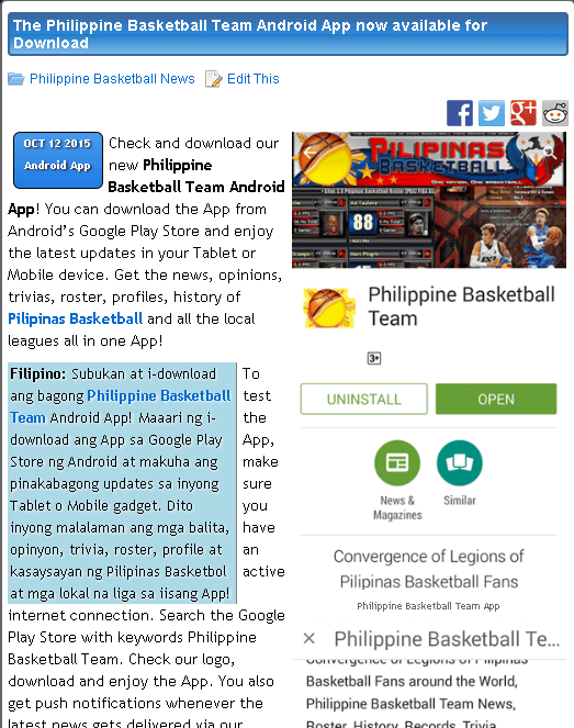 The Philippine Basketball Team Android App now available for Download #pilipinasbasketball  Check and download our new Philippine Basketball Team Android App! You can download the App from Android's Google Play Store and enjoy the latest updates in your Tablet or Mobile device. Get the news, opinions, trivias, roster, profiles, history of Pilipinas Basketball and all the local leagues all in one App!