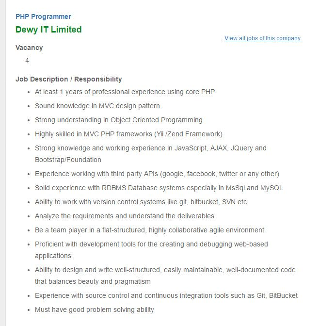 Career U2013 Dewy IT Limited U2013 PHP Programmer Dewy IT Limited Is Looking For  PHP Programmer