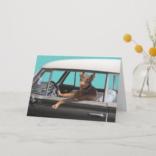 Doberman Pinscher Driving Classic Car Card | Zazzle.com