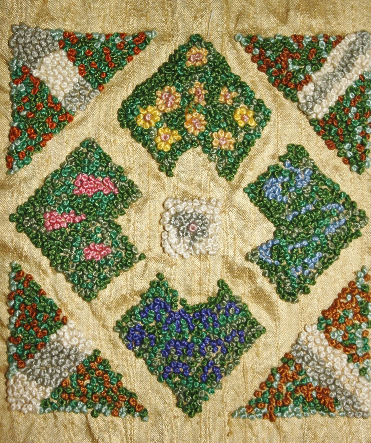 My French Knot Formal Garden Ribbon Embroidery Sampler done on Gold Dupion Silk