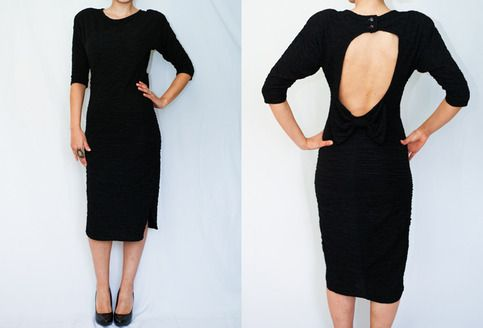 Size:M/L Such a showstopping vintage dress It is a texturized material and very form fitting Perfect LBD Back is a scoop cutout with an adorable over sized bow Easy removable shoulder padding No rips or stains