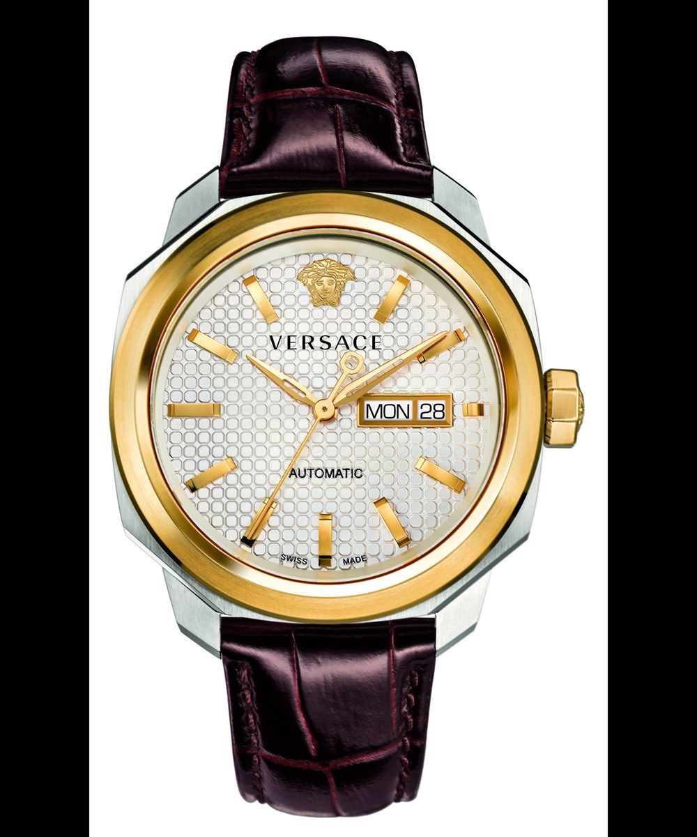 8a271105a VERSACE Versace:Dylos Auto Day/Date Twotone Case Silver Dial Brown Strap  Watch'. #versace #fine watches