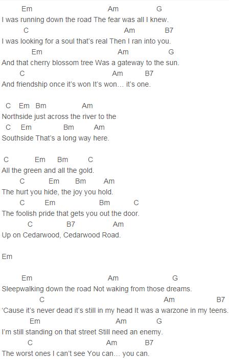 U2 Cedarwood Road Chords U2 Pinterest U2 Guitars And Pianos