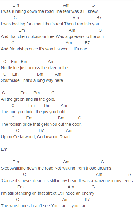 U2 Cedarwood Road Chords U2 Pinterest Ukulele Guitar And
