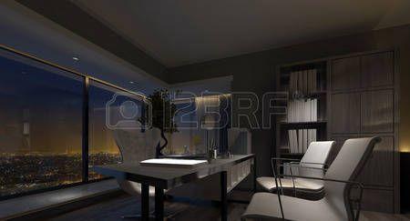 Interieur bureau spacieux inter de bureau à domicile de luxe dans