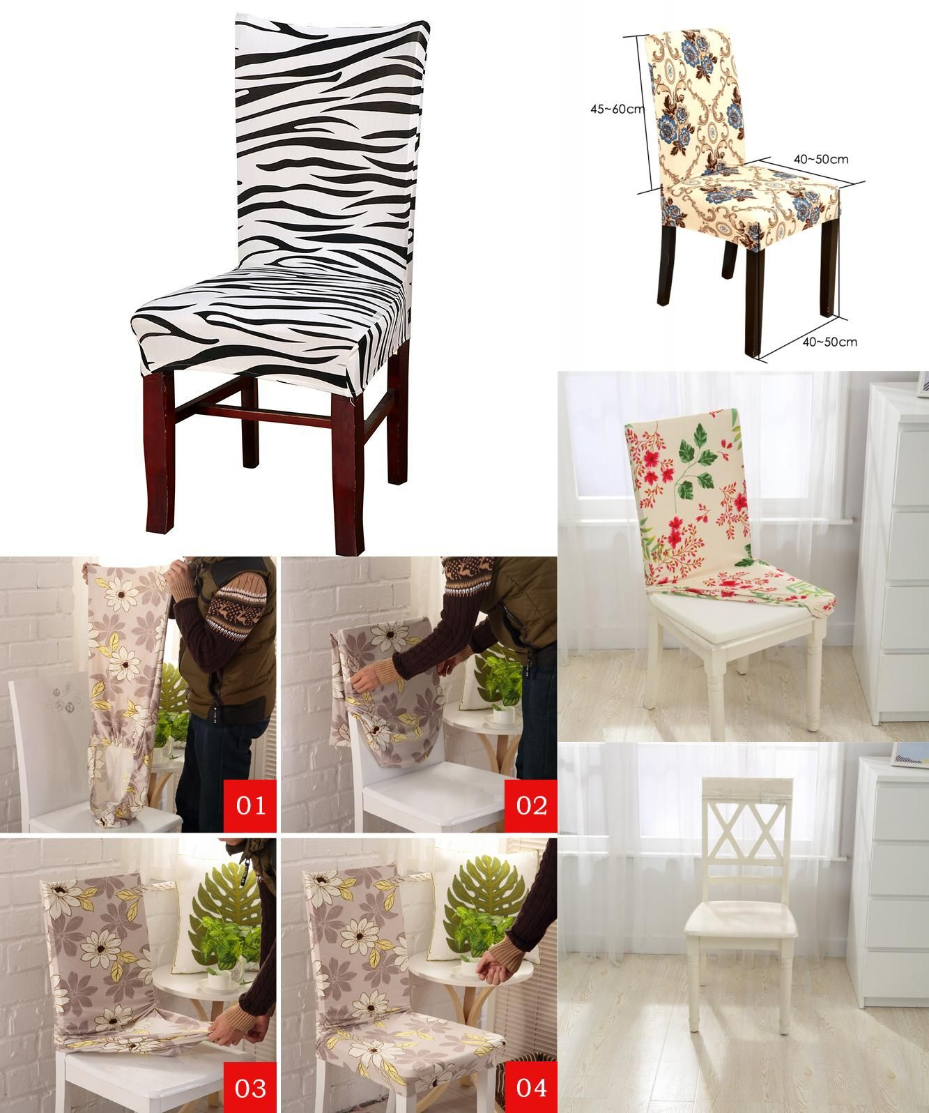 Visit to Buy] Polyester Spandex Dining Room Fabric Chair Covers