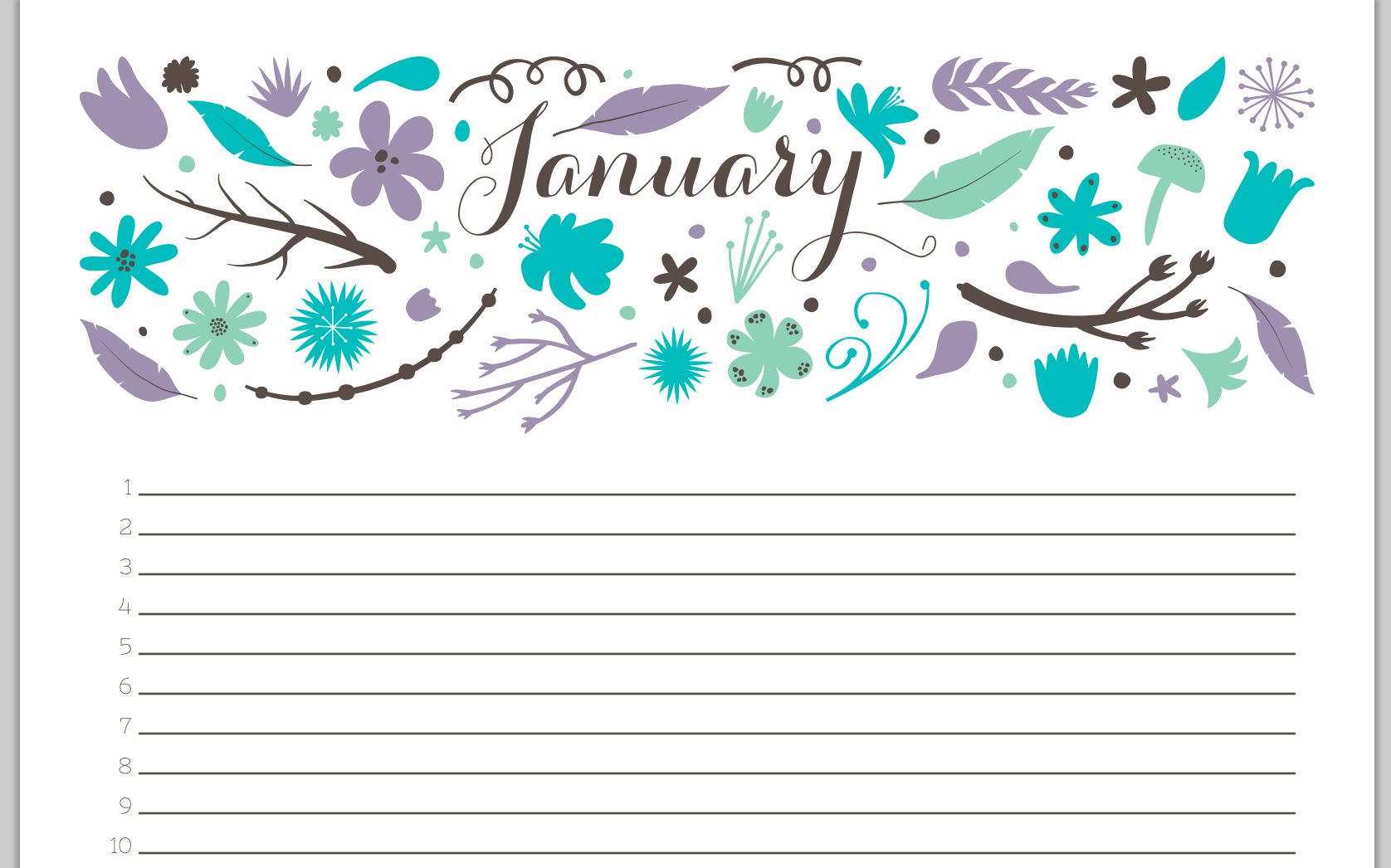 best floral jan calendar - Google Search
