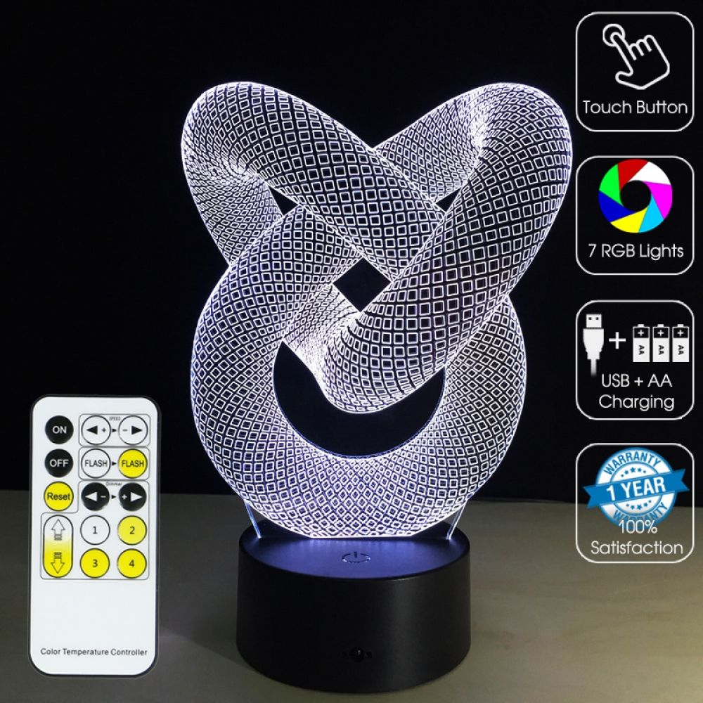 3d Led Optical Illusion Lamp Abstract Helical Spiral 3d Optical Illusions Optical Illusions 3d Illusion Lamp