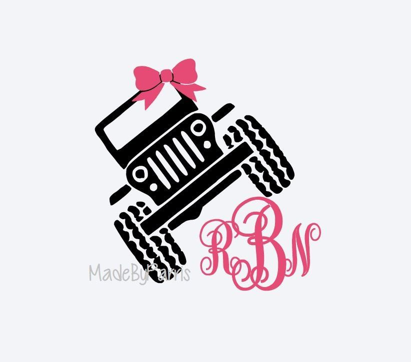 Jeep Monogram Decal With Bow Jeep Decal Yeti Decal Jeep Girl - Jeep vinyls for yeti cups