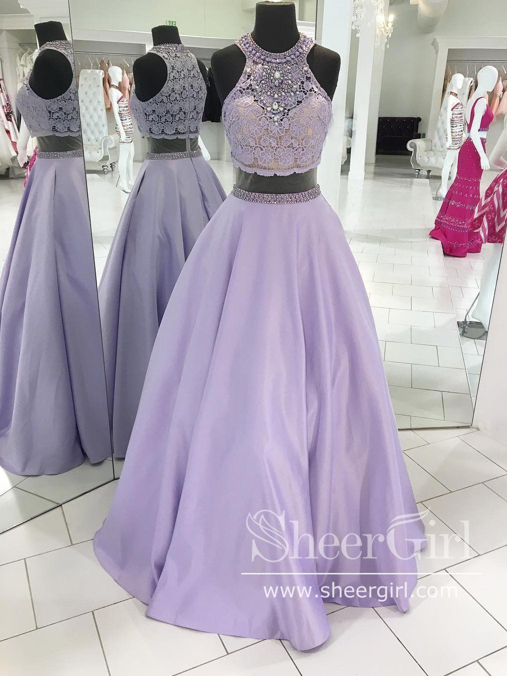 Two Pieces Sleeveless Halter Neckline Lace Bodice Rhinestones Long Prom Dress With Pockets Ard2590 Prom Dresses Two Piece High Neck Evening Dress Piece Prom Dress [ 1350 x 1013 Pixel ]