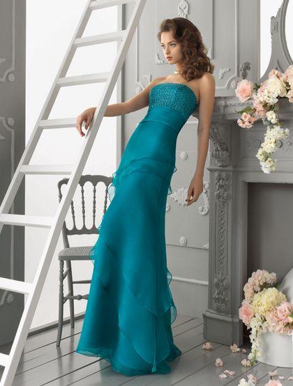 Vestido largo azul turquesa