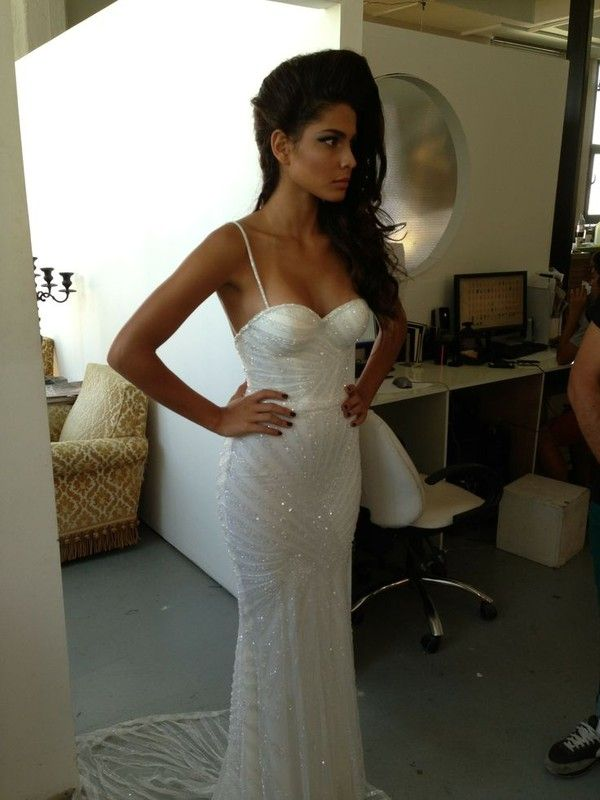 Dress: white spaghetti straps prom ball gown wedding sparkly corset ...