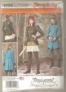 Simplicity-Pattern-1299-Steampunk-Coat-Jacket-Bustle-Skirt-Costume-Sz-6-12