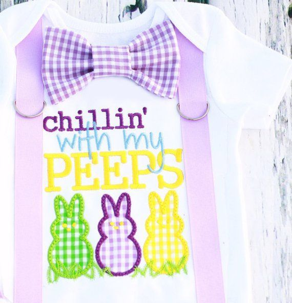 Boy Lavender purple first Easter Onesie Chillin' with my peeps Baby Boy Easter outfit with matching bow tie - Products -
