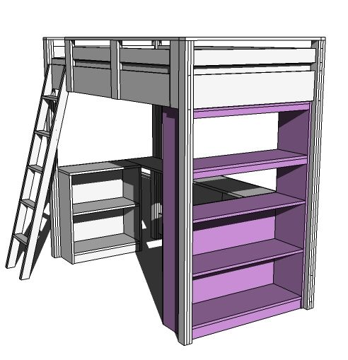 ana white build a what goes under the loft bed how about a big - Free Loft Bed With Desk Plans