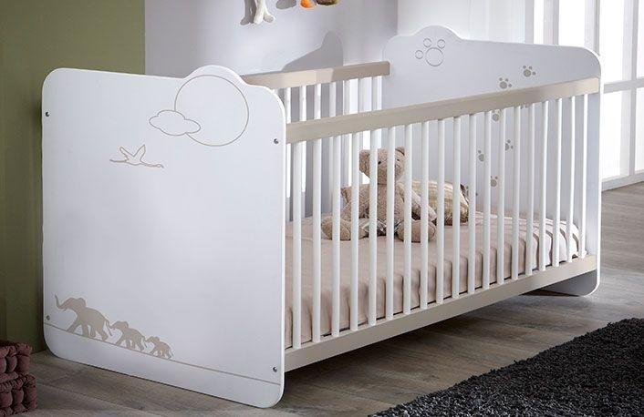 Cuna para bebé color blanco y dibujo jungla | Dormitorios y muebles ...