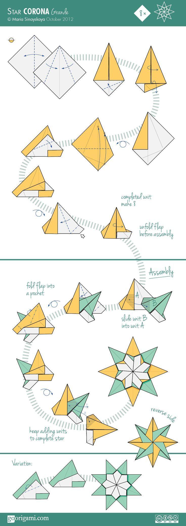 Star Corona Grande Diagram Easy To Follow Origami Directions Fireworks