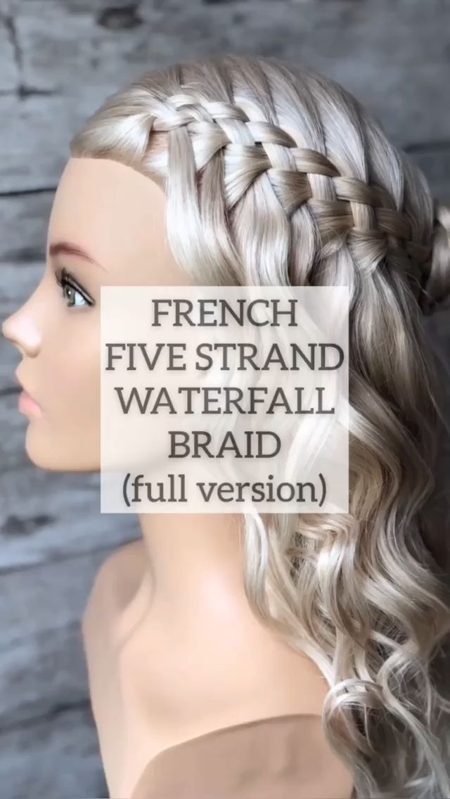 French five strand waterfall braid,  #Braid #french #Strand #Waterfall