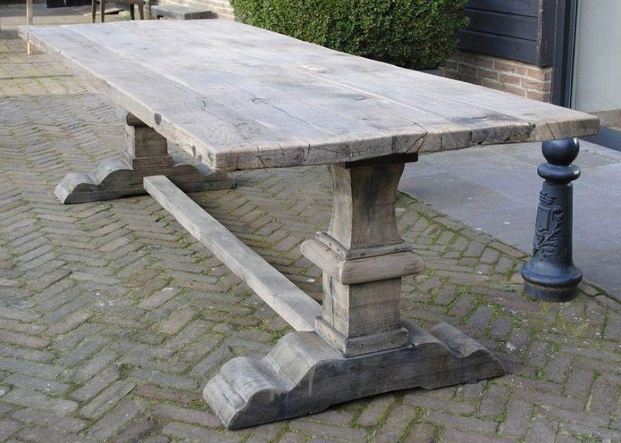 Eettafel oud eiken wagondelen houtenboel