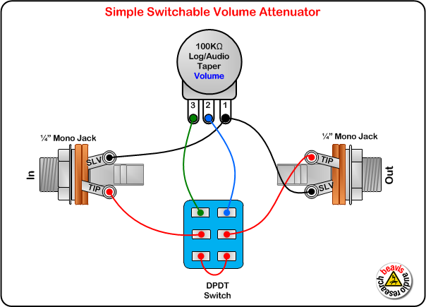 switchable volume attenuator wiring diagram guitars stringed rh pinterest com guitar pedal footswitch wiring Guitar Pedal Jack Wiring