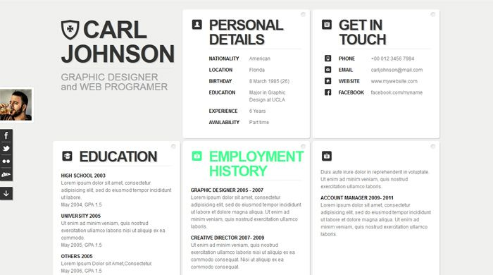 peachGrid resume\/ CV template - Resume \/ CV Specialty Pages - html resume templates