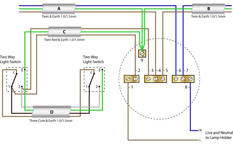 ceiling rose wiring diagram two way switching new colours rh pinterest ie ceiling rose wiring terminal block ceiling rose wiring with 5 cables