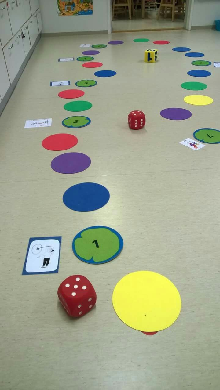 fun gross motor board game idea for preschool and early elementary