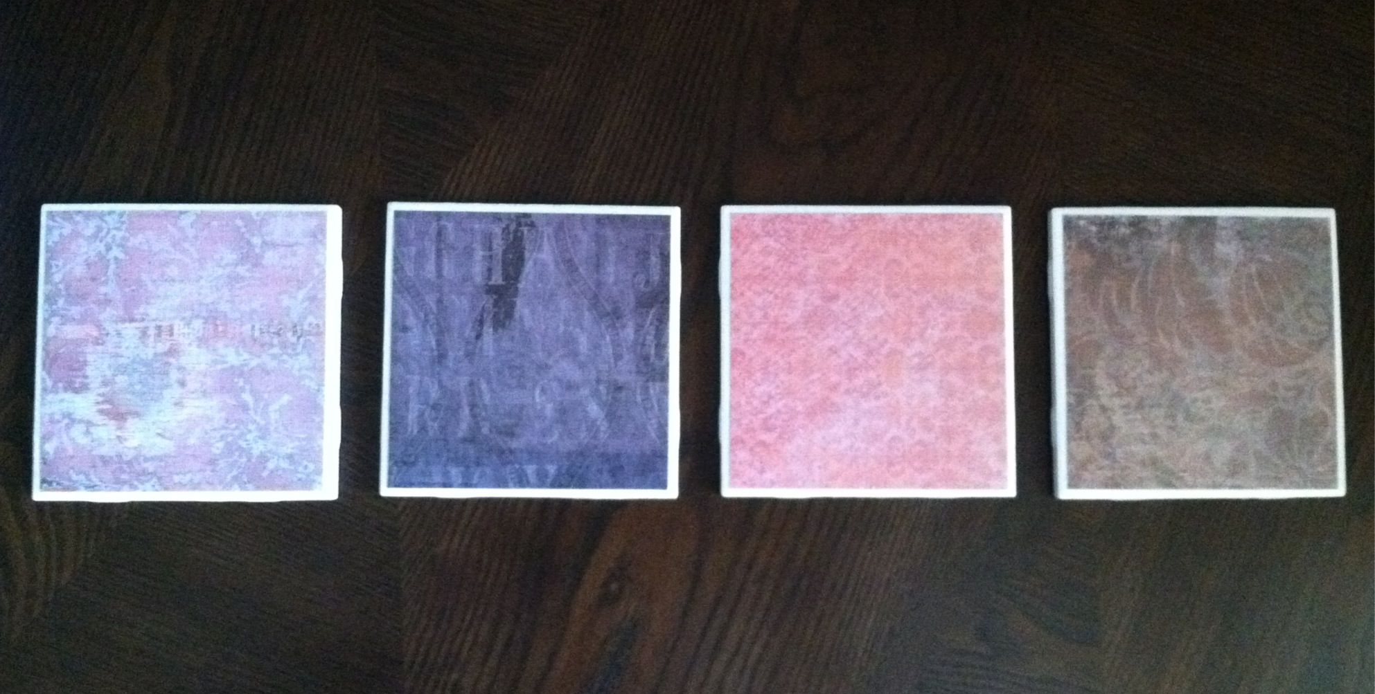 DIY coasters I made- tutorial found at: http://blueprintcrafts.com/2010/04/tile-coaster-tutorial/