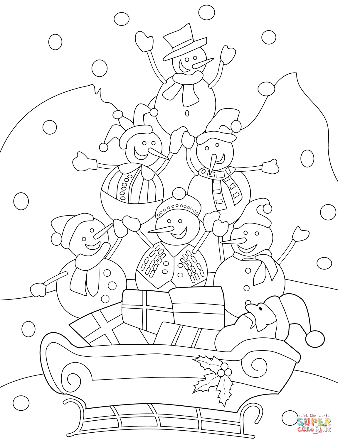 Snowmen with Santa on a Sled coloring page Free