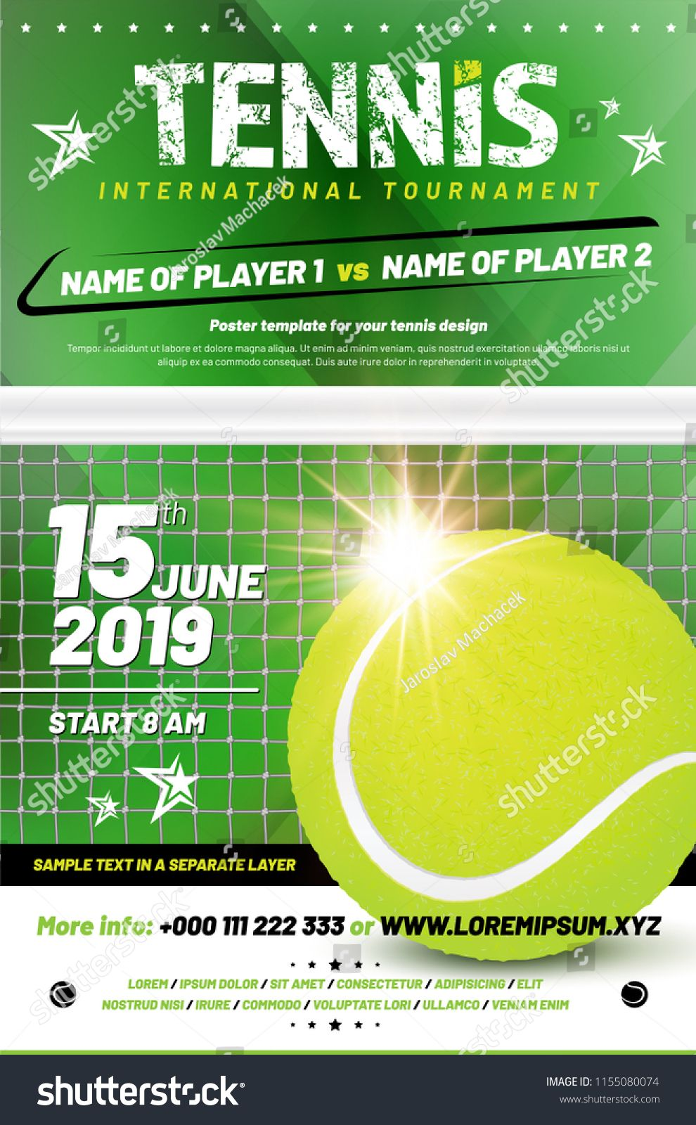 Tennis Tournament Poster Template With Sample Text In Separate Layer Vector Illustration Ad Ad Te Poster Template Templates Responsive Website Template