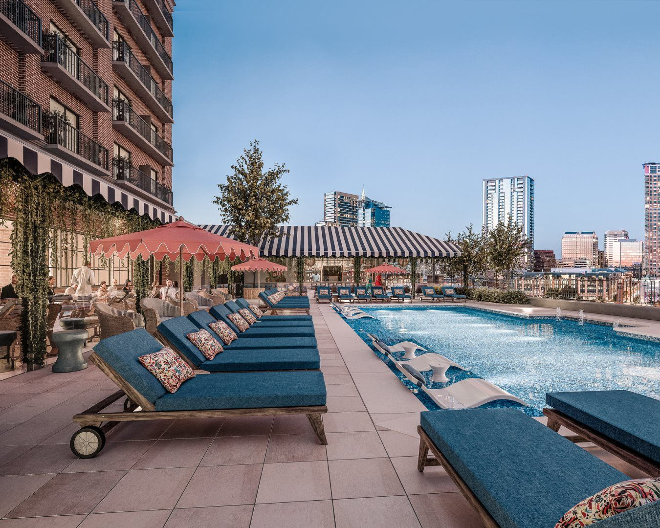 Lounging Poolside On The 7th Floor At Zazaaustin Overlooking