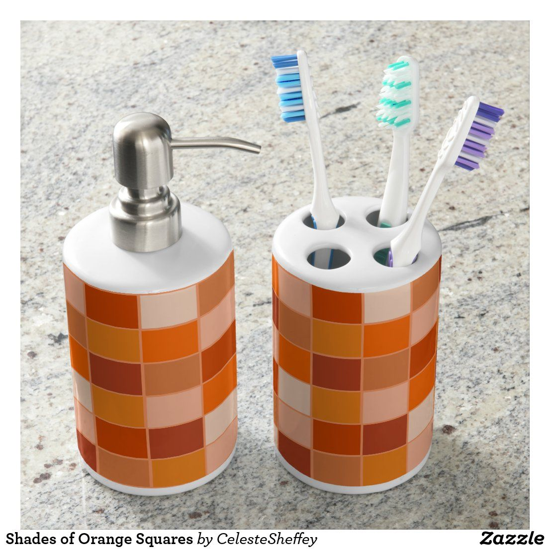 Shades of Orange Squares Bath Set  Zazzle.com in 8  Square