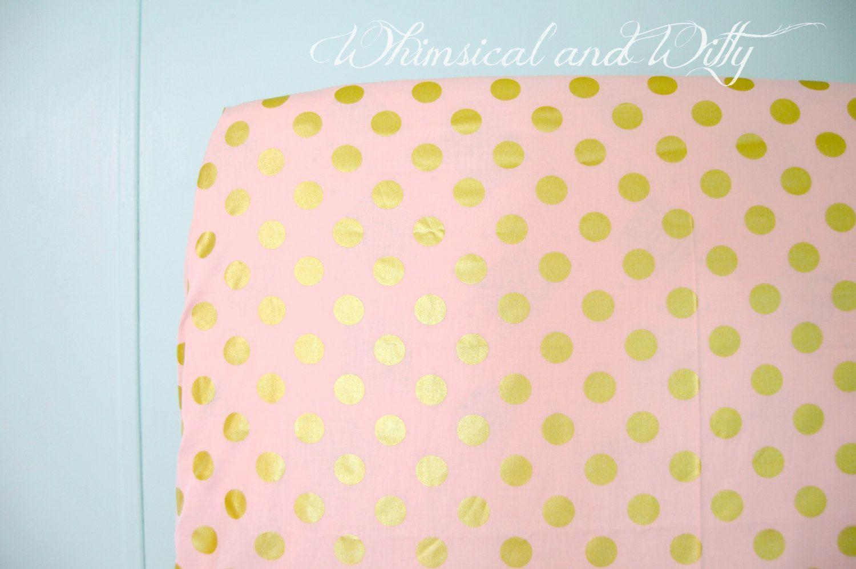 Handmade cotton crib sheet white w dots,circles.pink//yellowgreen//girl
