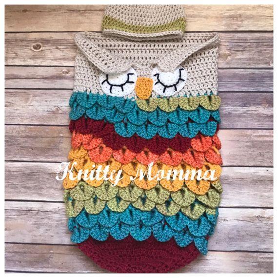 Owl Cocoon Crochet PATTERN - Baby Sack and Hat Set - Sleeping Owl ...
