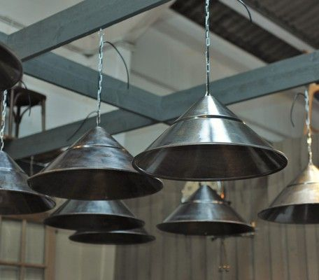 1 to 12 Vintage French Steel Factory  Lights 1960s