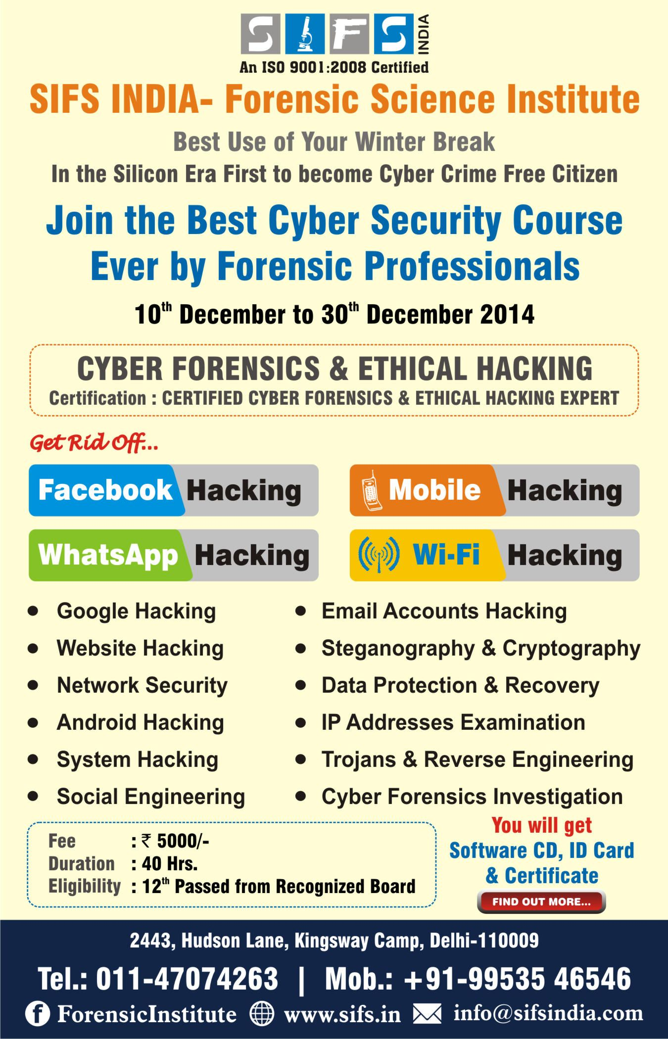 Sifsforeniscinstitute Join Our Best Cyber Security And Ethical Hacking Courses Cyber Security Course Cyber Forensics Cyber Security
